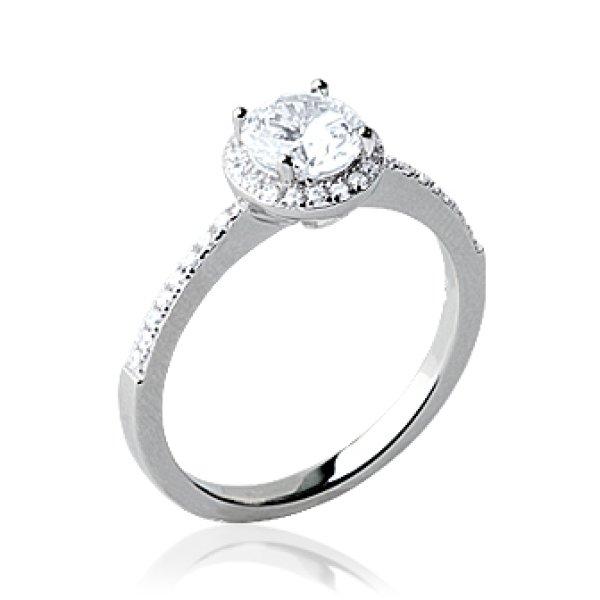 design de qualité 6b22a 6a172 BAGUE SOLITAIRE FEMME - argent 925 massif rhodié - faux diamant 4 griffes  strass